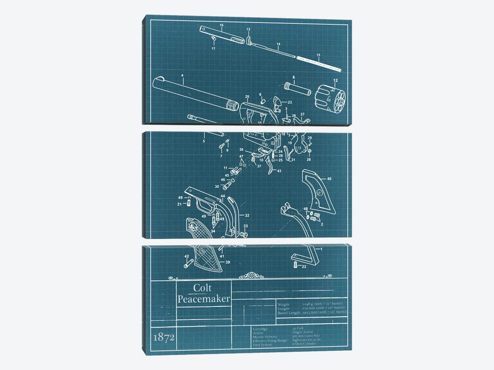 Colt Peacemaker Blueprint Diagram by Unknown Artist 3-piece Canvas Art Print