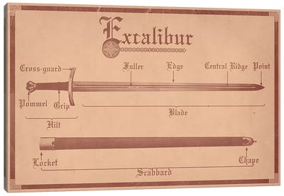 Tan Leather Excalibur Diagram Canvas Art Print