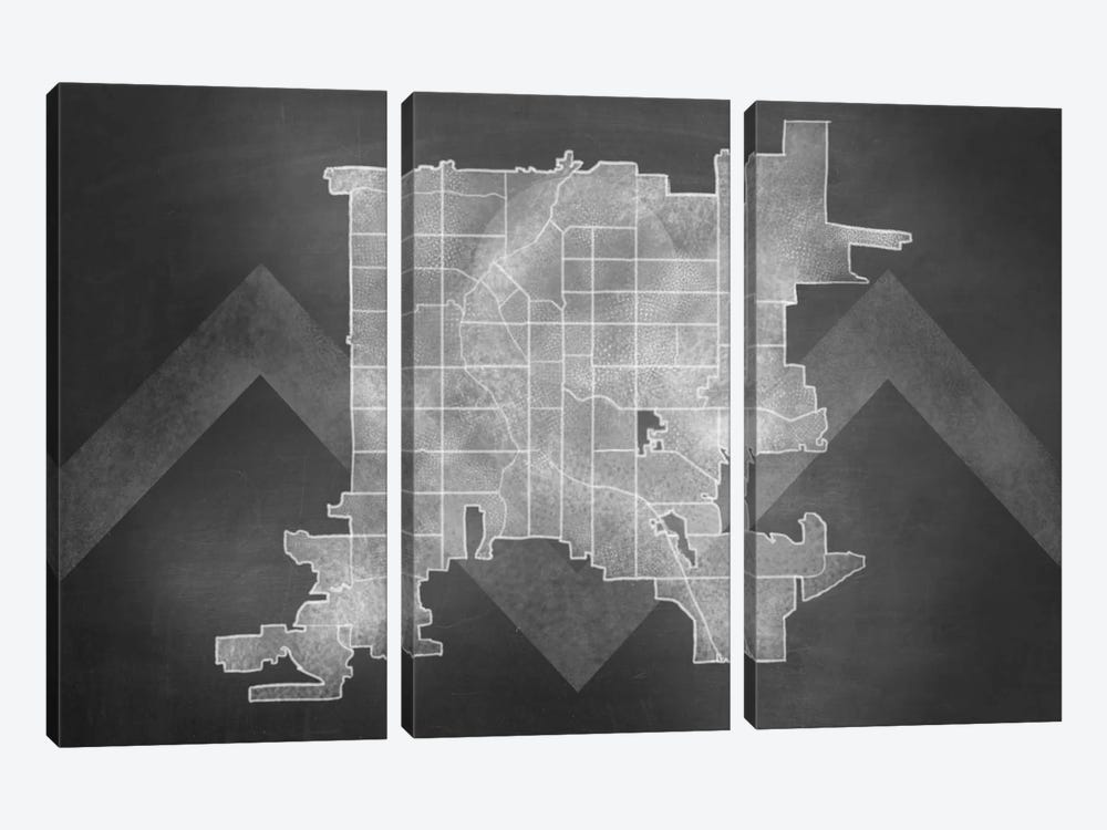 Denver Chalk Map by 5by5collective 3-piece Canvas Wall Art