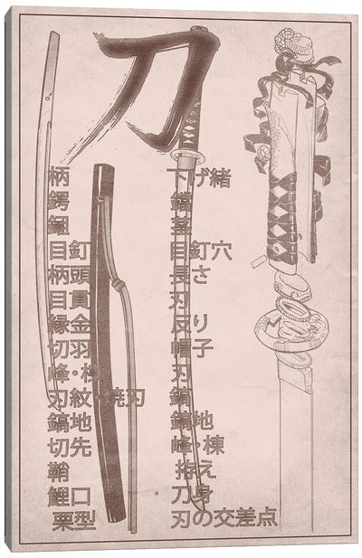 Sand Stone Samurai Sword Diagram Canvas Art Print