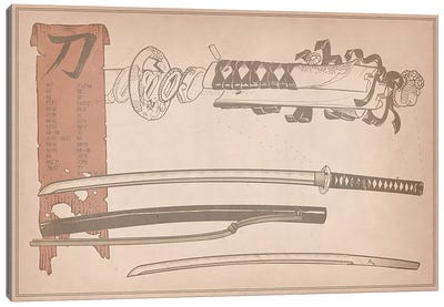 Red Banner Samuria Sword Diagram Canvas Art Print
