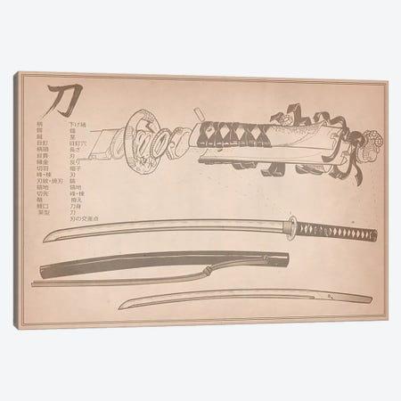 Tan Leather Samurai Sword Diagram Canvas Print #ICA944} by Unknown Artist Canvas Art