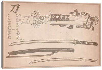 Tan Leather Samurai Sword Diagram Canvas Art Print