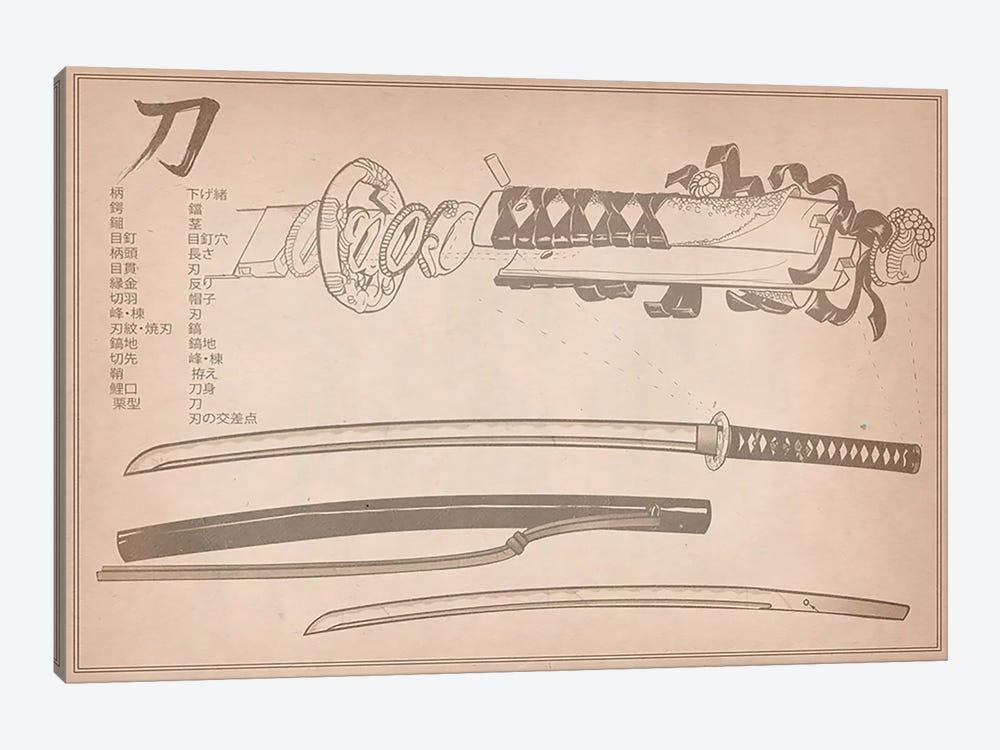 Tan Leather Samurai Sword Diagram by Unknown Artist 1-piece Canvas Art