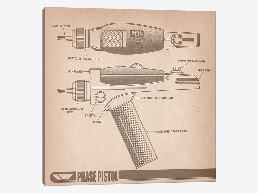 Phase Pistol Diagram by iCanvas 1-piece Canvas Wall Art