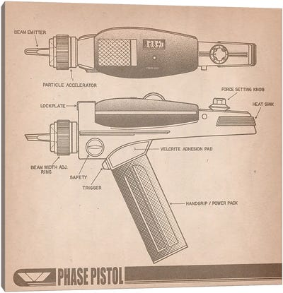 Phase Pistol Diagram Canvas Art Print