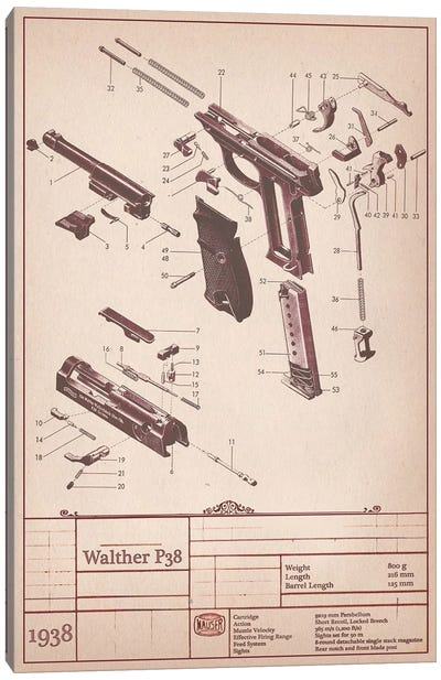 Walther P38 Diagram Canvas Art Print