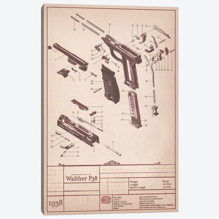 Walther P38 Diagram Canvas Print #ICA949} by Unknown Artist Canvas Art Print
