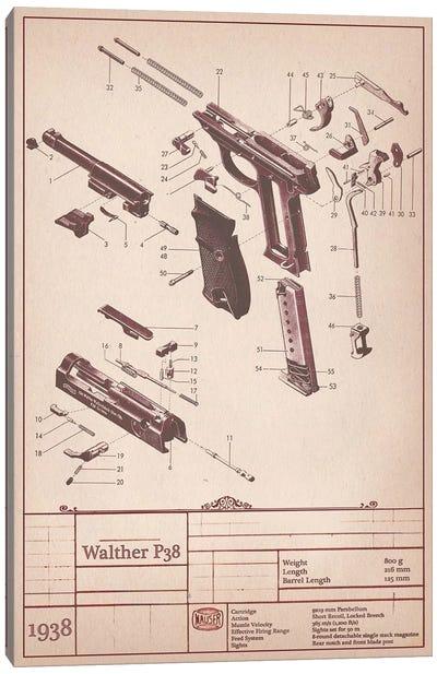 Walther P38 Diagram Canvas Art Print