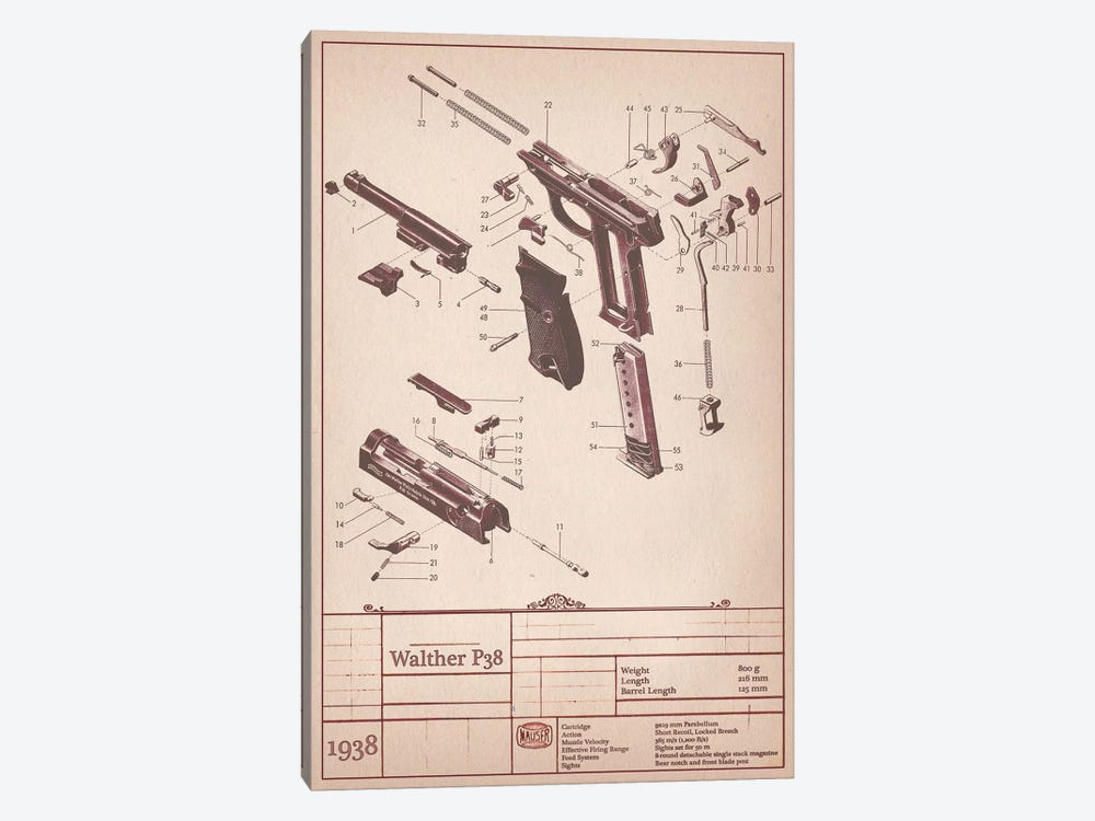 Walther P38 Diagram by Unknown Artist 1-piece Art Print