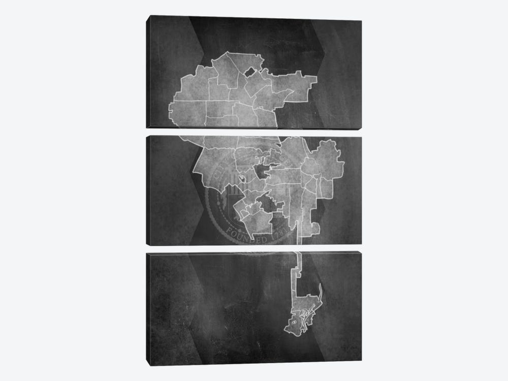 Los Angeles Chalk Map by 5by5collective 3-piece Canvas Print