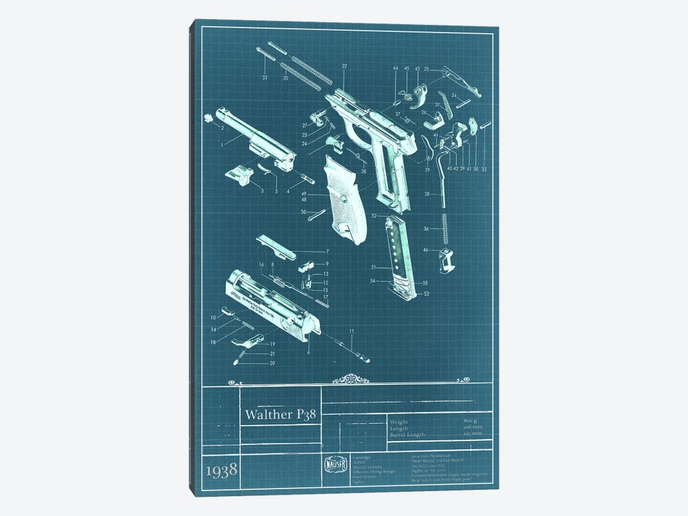 Walther P38 Blueprint Diagram by iCanvas 1-piece Canvas Print