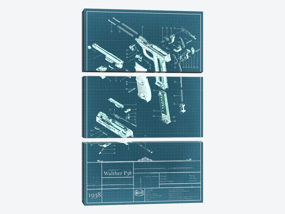 Walther P38 Blueprint Diagram by iCanvas 3-piece Art Print