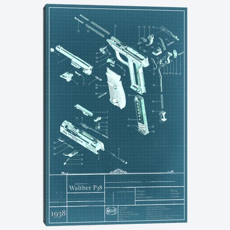 Walther P38 Blueprint Diagram Canvas Print #ICA950} by Unknown Artist Canvas Wall Art