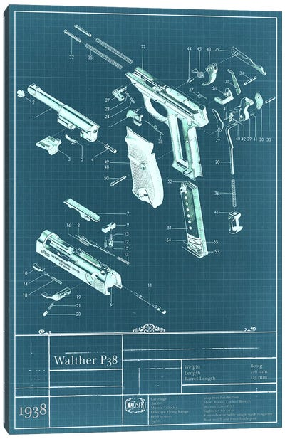 Walther P38 Blueprint Diagram Canvas Art Print