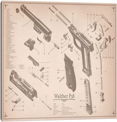 Walther P38 Diagram 2 Canvas Art Print