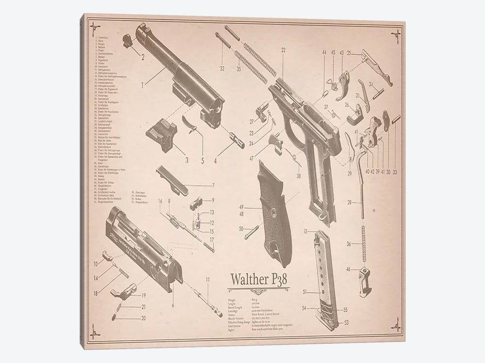 Walther P38 Diagram 2 by Unknown Artist 1-piece Canvas Wall Art