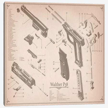 Walther P38 Diagram 2 Canvas Print #ICA951} by Unknown Artist Canvas Artwork