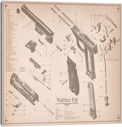 Walther P38 Diagram 2 Canvas Art Print