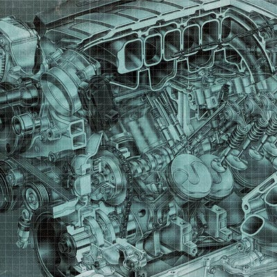 Engine block blueprint art print by 5by5collective icanvas canvas malvernweather Image collections