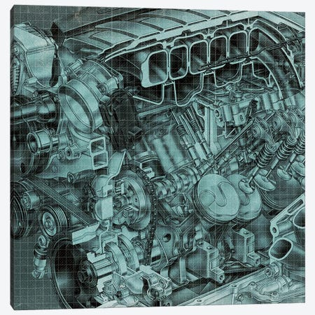 Engine Block Blueprint Canvas Print #ICA953} by 5by5collective Canvas Artwork