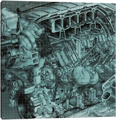Engine Block Blueprint Canvas Art Print