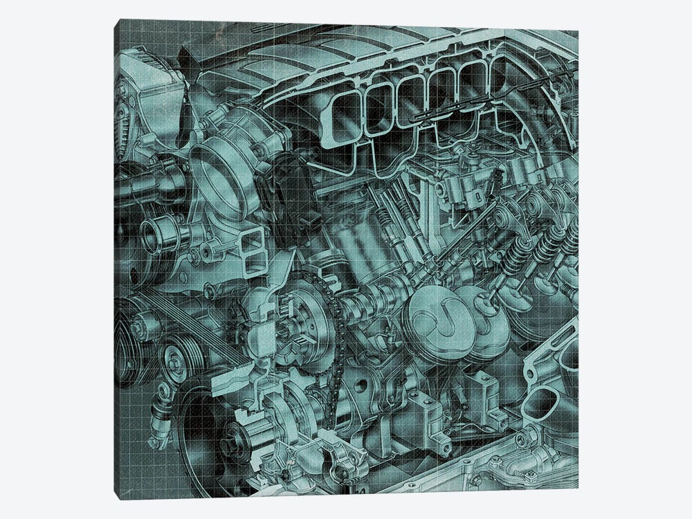 Engine Block Blueprint by 5by5collective 1-piece Canvas Artwork