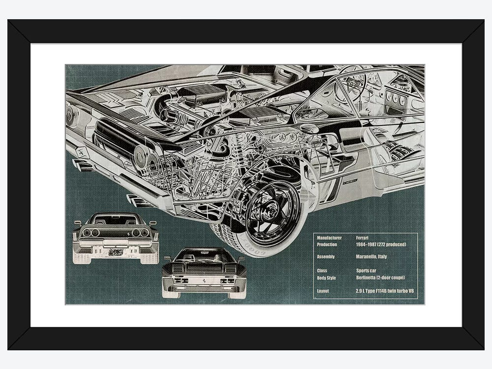 Rear engine x ray blueprint framed print by 5by5collective icanvas rear engine x ray blueprint 1 piece art print malvernweather Image collections