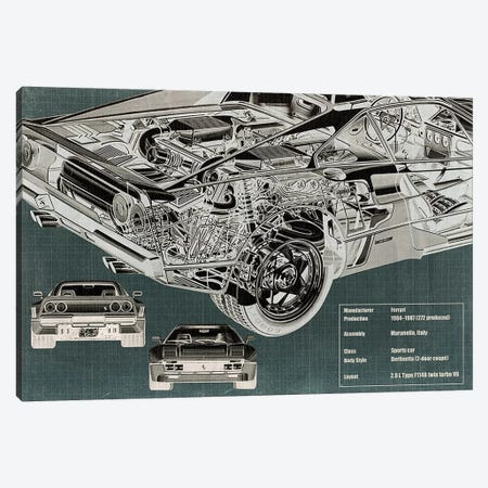 Rear Engine X-Ray Blueprint Canvas Print #ICA954} by 5by5collective Canvas Print