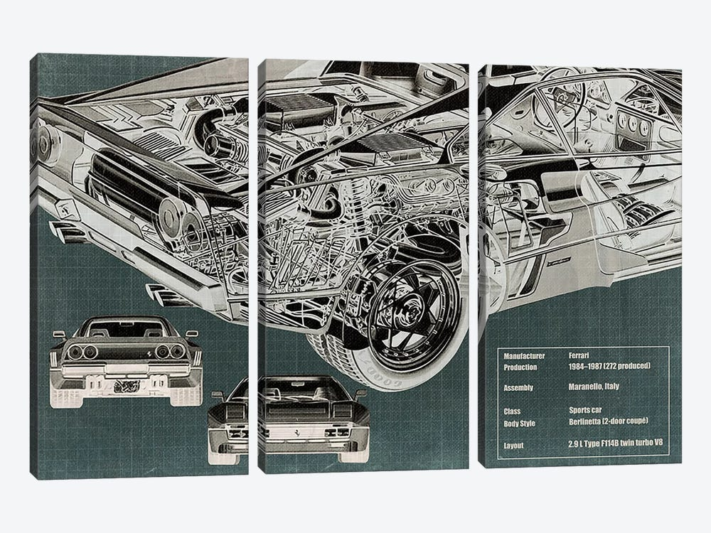 Rear Engine X-Ray Blueprint by 5by5collective 3-piece Art Print