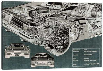 Rear Engine X-Ray Blueprint Canvas Art Print