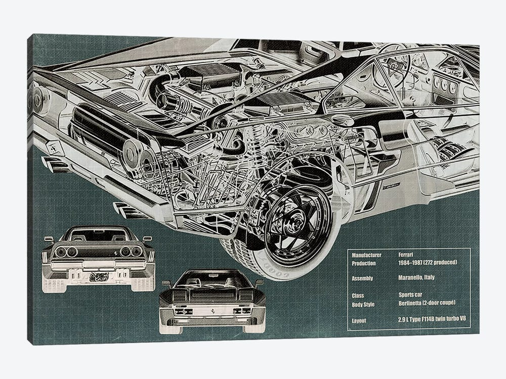 Rear Engine X-Ray Blueprint by 5by5collective 1-piece Art Print