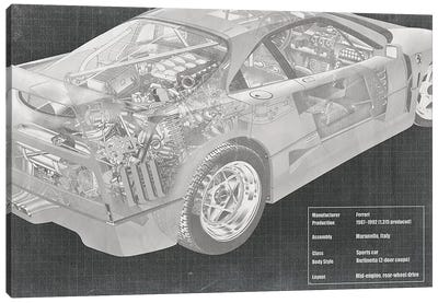 Engine and Interior X-Ray Blueprint Canvas Art Print