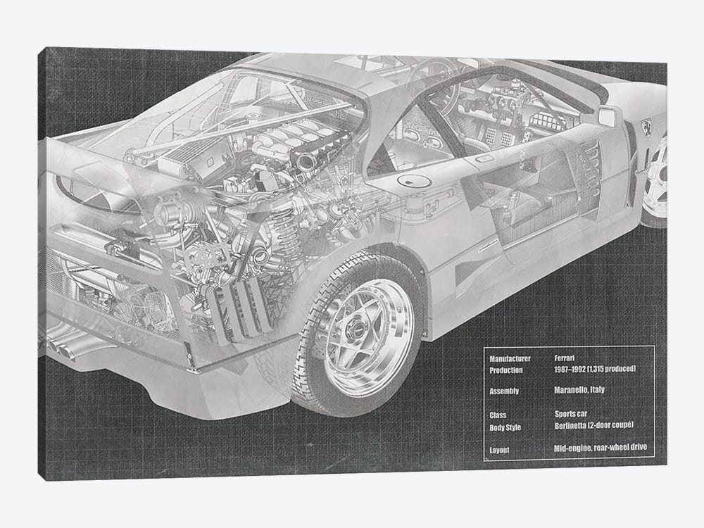 Engine and Interior X-Ray Blueprint by 5by5collective 1-piece Canvas Wall Art