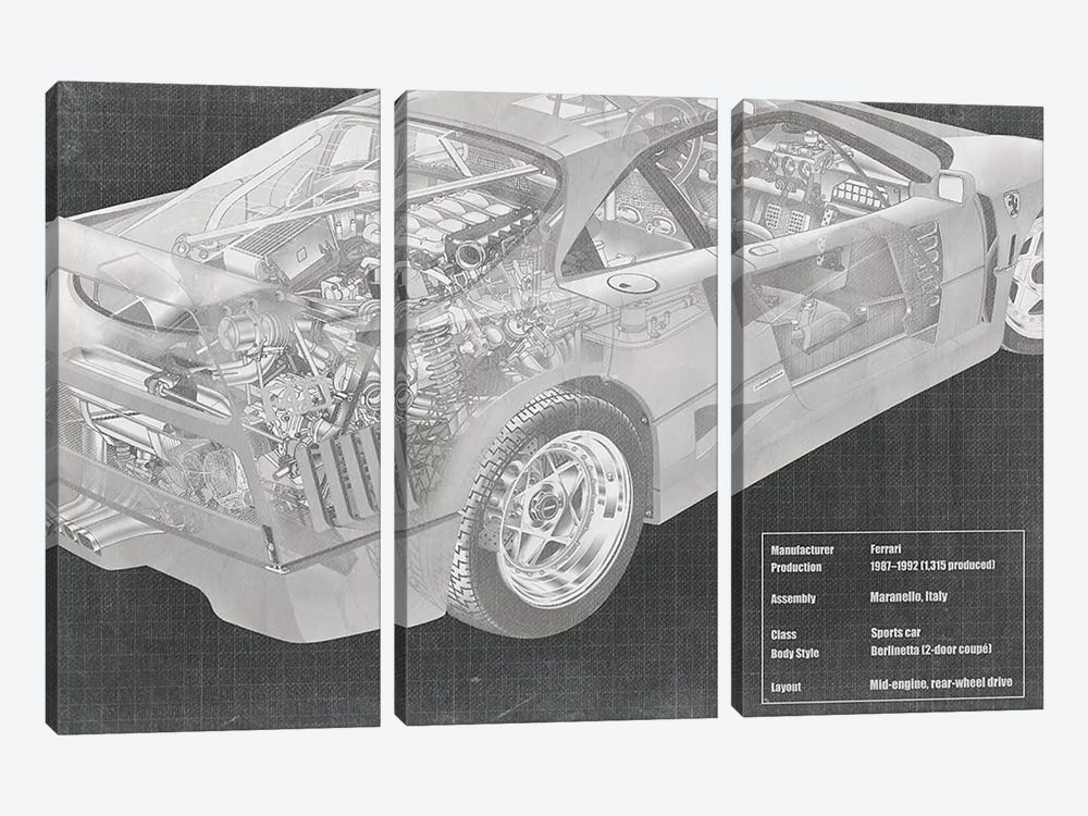 Engine and Interior X-Ray Blueprint by 5by5collective 3-piece Canvas Wall Art