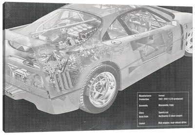 Engine and Interior X-Ray Blueprint Canvas Art Print