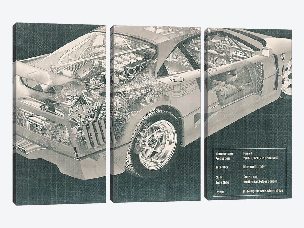 Engine and Interior X-Ray Blueprint #2 by 5by5collective 3-piece Canvas Art Print