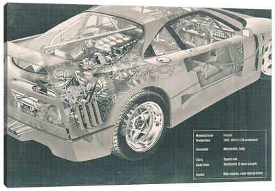Engine and Interior X-Ray Blueprint #2 Canvas Art Print