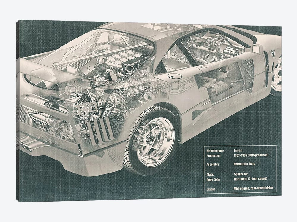 Engine and Interior X-Ray Blueprint #2 by 5by5collective 1-piece Canvas Art Print