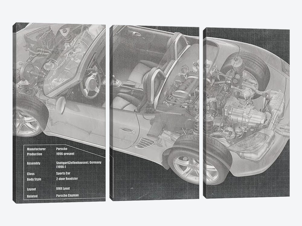 Convertible Engine X-Ray Blueprint by 5by5collective 3-piece Canvas Artwork