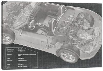 Convertible Engine X-Ray Blueprint Canvas Art Print