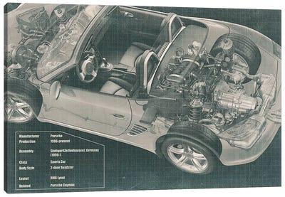 Convertible Engine X-Ray Blueprint #2 Canvas Art Print