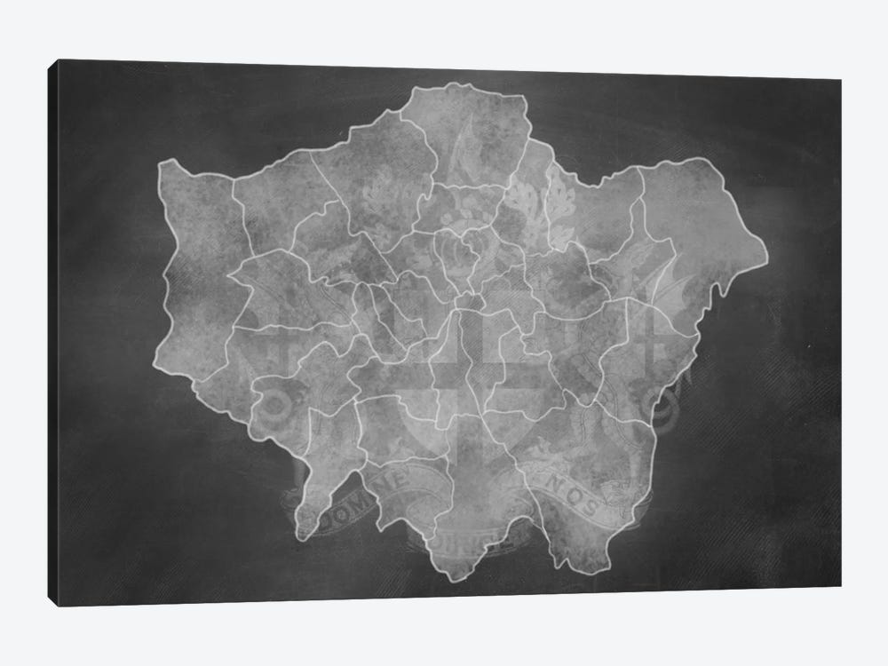 London Chalk Map by 5by5collective 1-piece Canvas Artwork