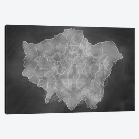 London Chalk Map 3-Piece Canvas #ICA95} by 5by5collective Canvas Print