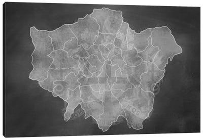 London Chalk Map Canvas Art Print