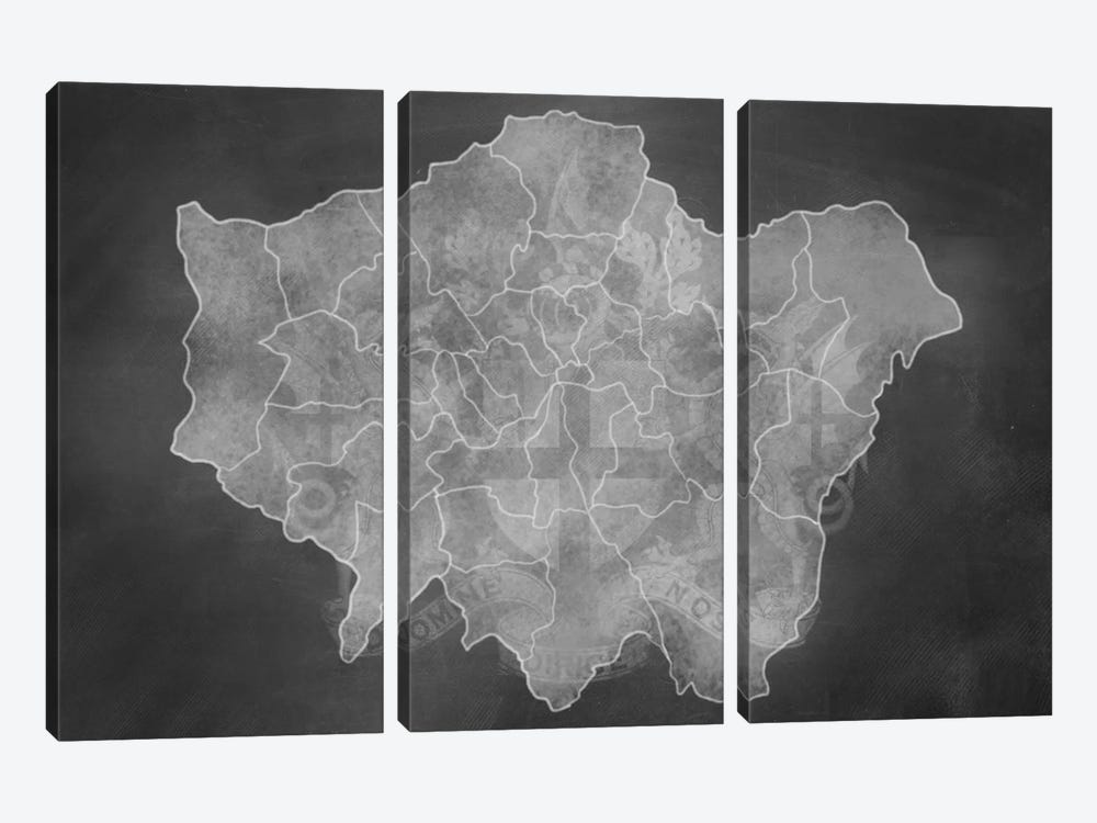 London Chalk Map by 5by5collective 3-piece Canvas Artwork