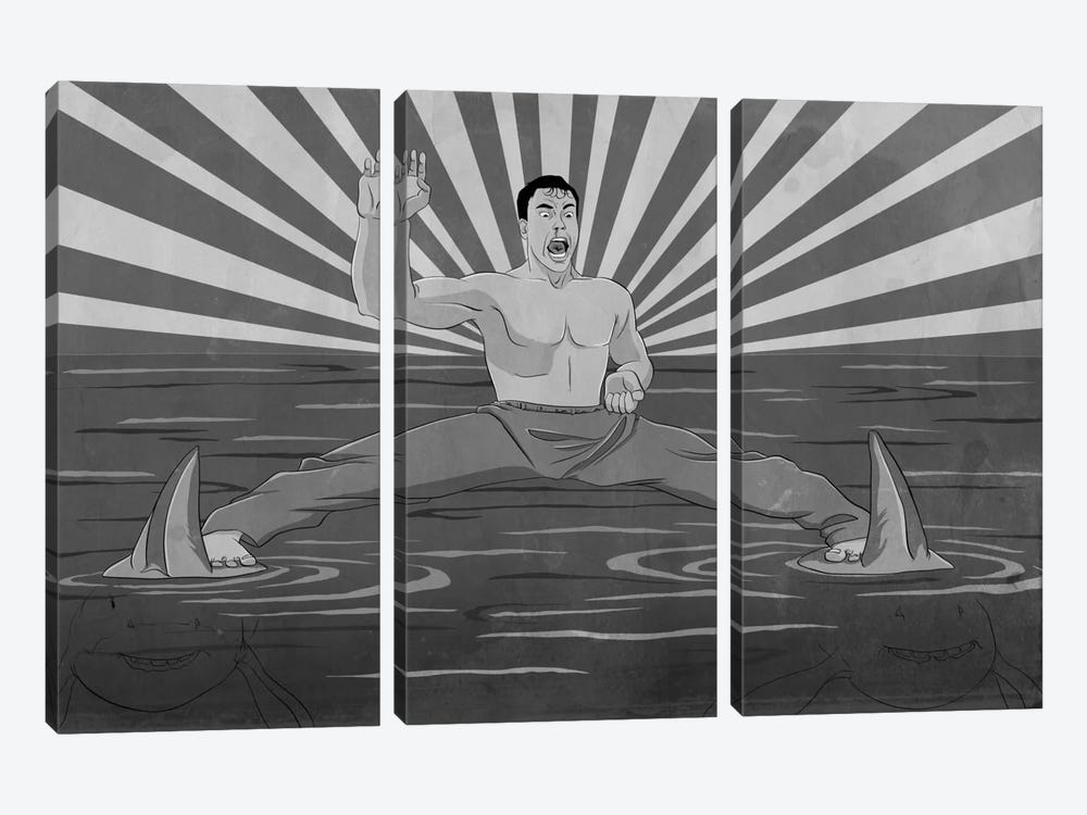 Splitting Sharks Greyscale 3-piece Canvas Artwork