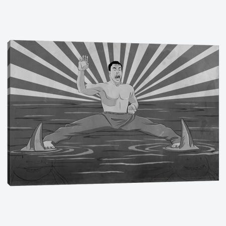 Splitting Sharks Greyscale Canvas Print #ICA964} by 5by5collective Canvas Wall Art