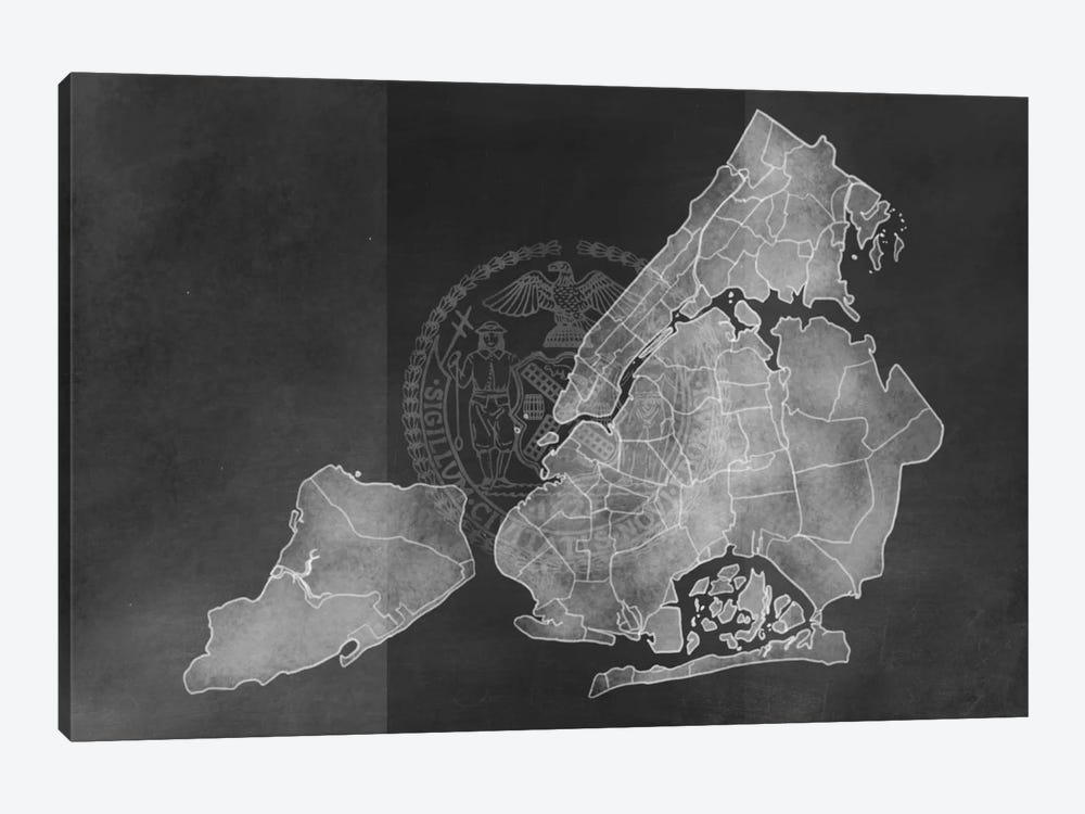 New York City Chalk Map by 5by5collective 1-piece Canvas Print