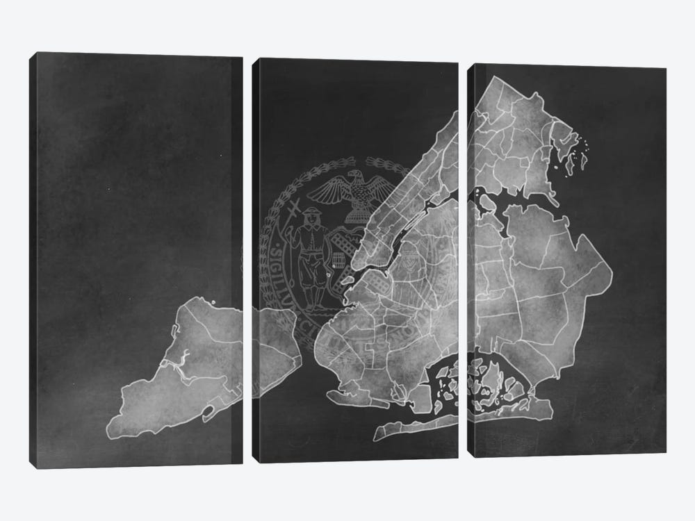 New York City Chalk Map by 5by5collective 3-piece Art Print